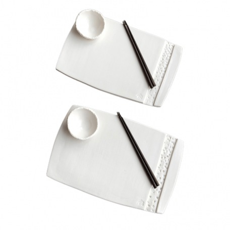 Elephantom Design GIFT BOX - Duo of sushi trays and sauce bowls - Porcelain - Handmade