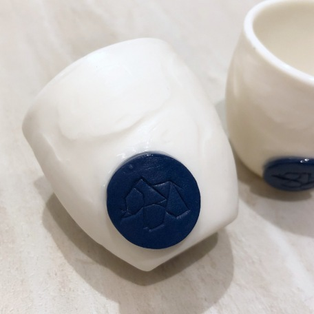 Espresso cup without handle - Porcelain - Handmade • Sea Ice