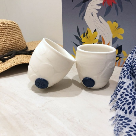Coffee cup without handle - Porcelain - Handmade • Sea Ice